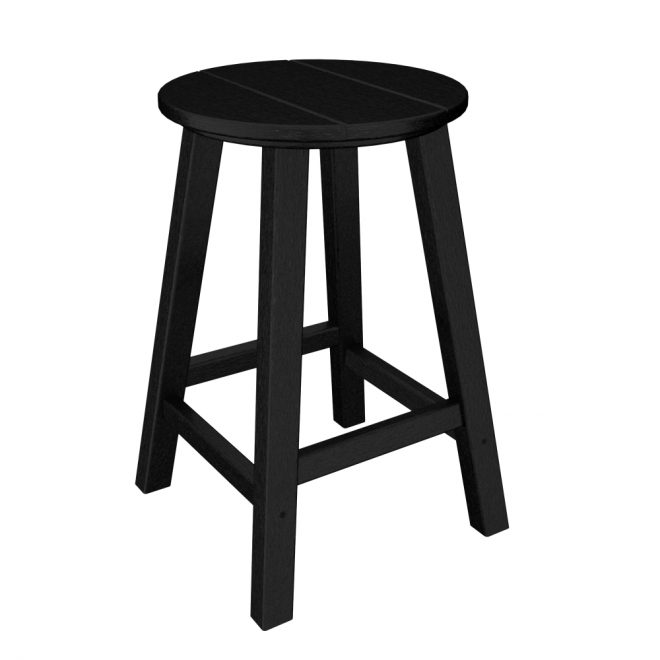 Pack of 2 Recycled Earth-Friendly Outdoor Patio Black Bar Stools - 24.25""