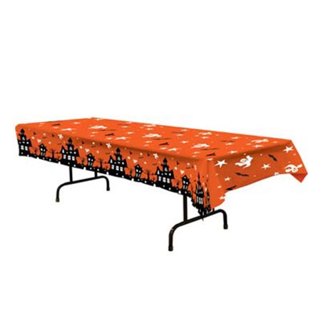 Plastic Tablecover Haunted House Party Buffet Halloween Tablecloth (Halloween Party Table Setting)