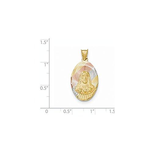 14K Tri-Color Gold Sacred Heart Of Jesus Oval Medal Charm Pendant