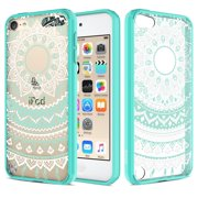 iPod Touch 6/ iPod Touch 5 Case, RANZ Mint Mandala Sun Lace Totem Design Hybrid Soft TPU Side and Clear Hard Acrylic Back Protective Cover Case for Apple iPod Touch 6/ iPod Touch 5 …
