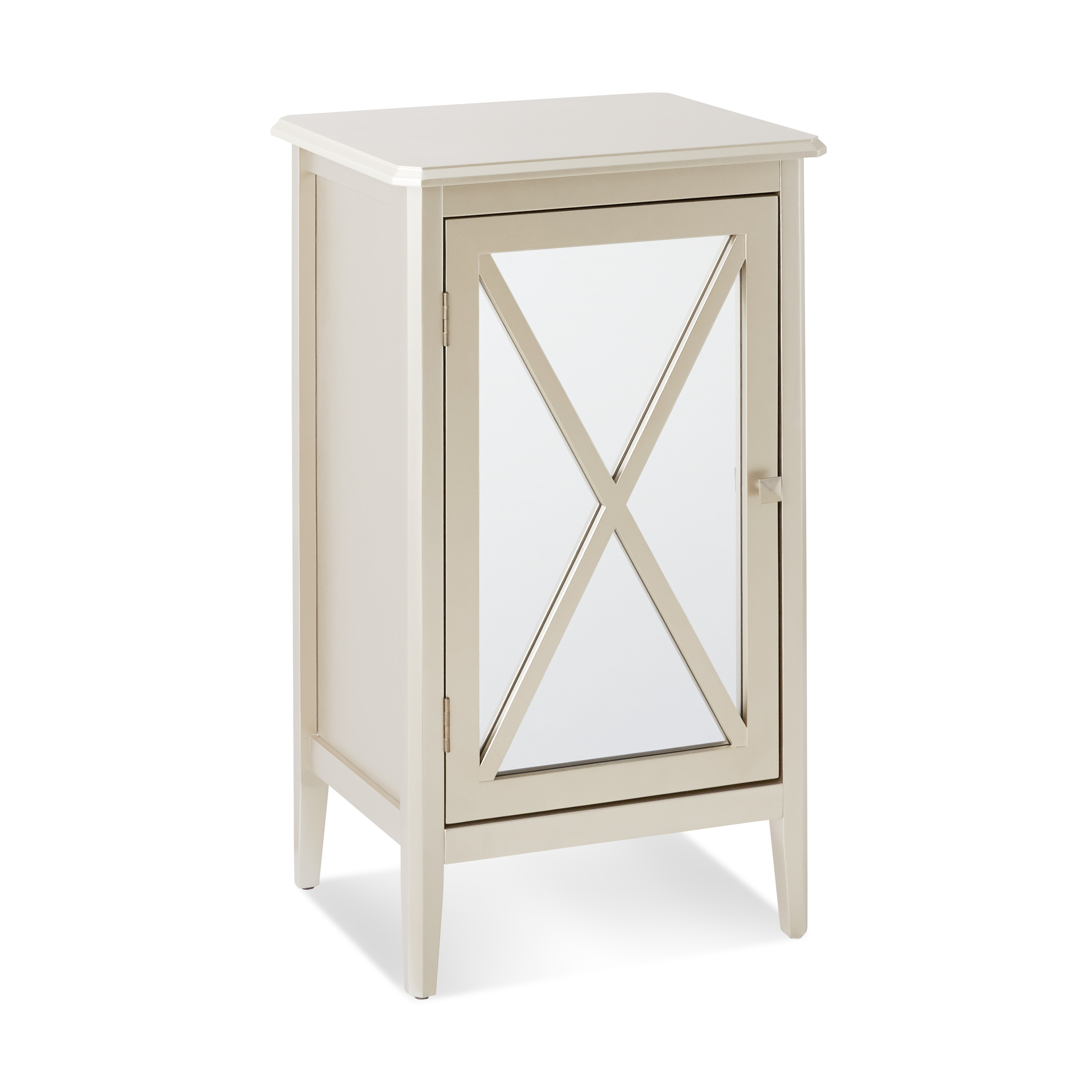 Details About Accent Mirrored Cabinet Small Space Compact Storage End Table  Night Stand Mirror