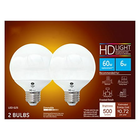 - GE LED 6W HD Relax Soft White G25 Globe Frosted Finish, Medium Base, Dimmable, 2pk Light Bulbs