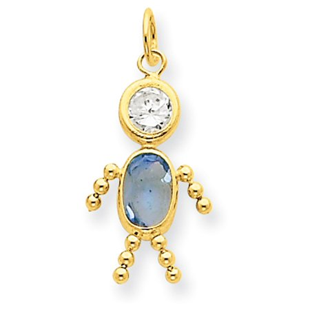 14k Yellow Gold March Boy Birthstone Charm