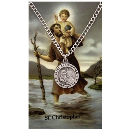 Pewter Saint Christopher Protect Us Medal Pendant with Laminated Prayer Card, 3/4 Inch
