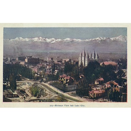 (Mary Evans / Grenville Collins Postcard Collection Stretched Canvas Art - Salt Lake City, Utah, Usa - Birdseye View - Large 36 x 24 inch Wall Art Decor Size.)