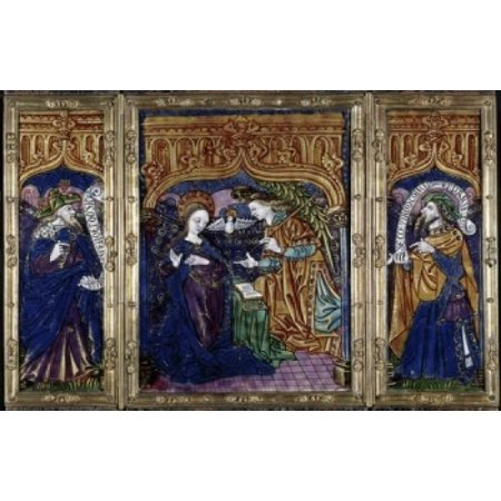 Triptych of the Annunciation & the Prophets David & Isaiah ca 1500 Master of the Orleans Triptych (active 1500-1520 French) Enamel (Limoges) Walters Art Museum Baltimore Maryland USA Canvas Art - (24