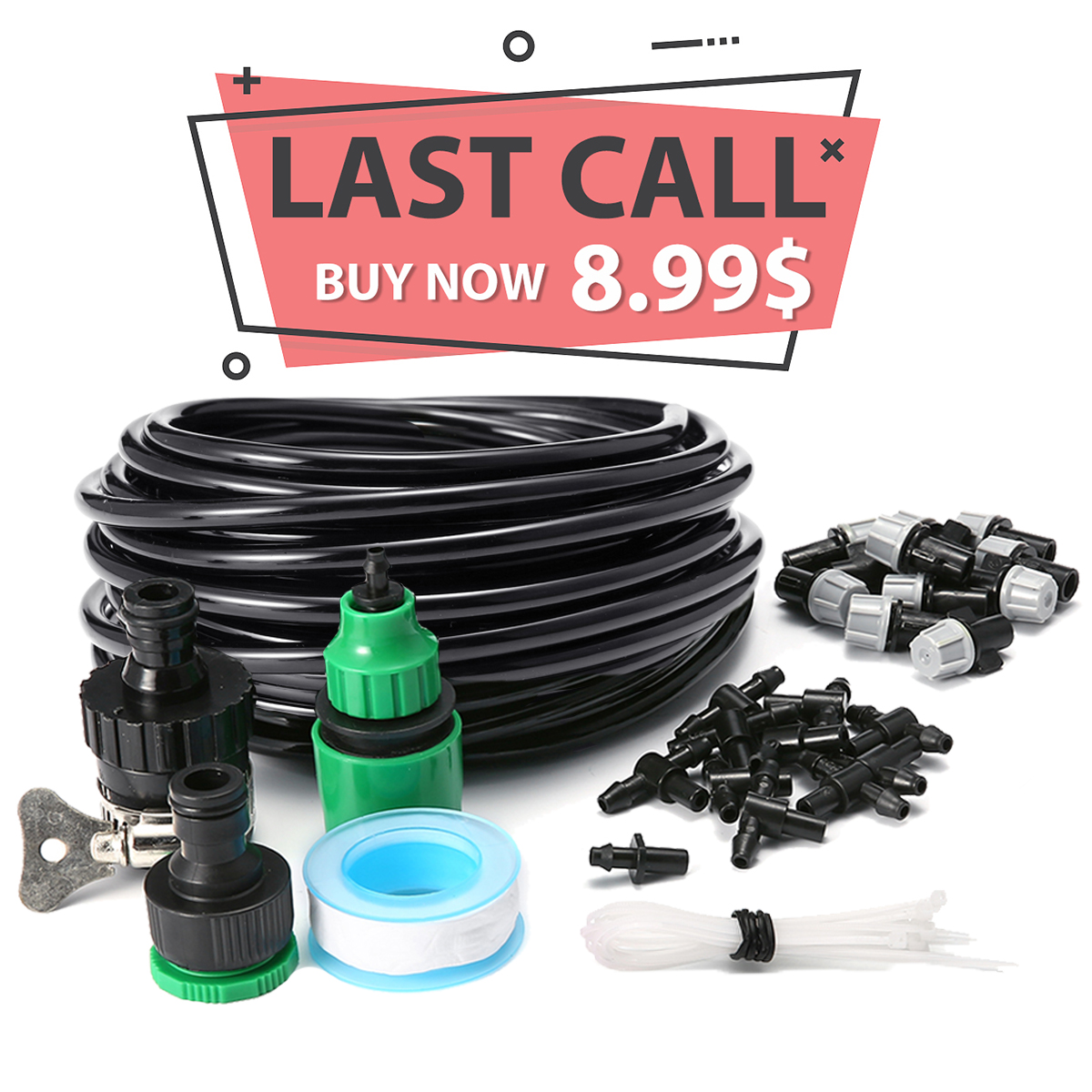 KINGSO 33ft Micro Drip Irrigation System Kit Home Garden Patio Micro Flow Drip Irrigation Misting Cooling System Plastic Mist Nozzle Sprinkler Micro Bubbler