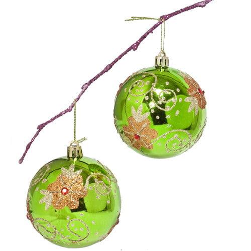 Perfect Holiday 3 14 Shatterproof Handpainted Flowers With Acrylic Diamonds Christmas Ball Ornament Walmart Com Walmart Com
