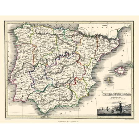 Old Iberian Peninsula Map - Spain and Portugal - Thomson 1836 - 23 x ...