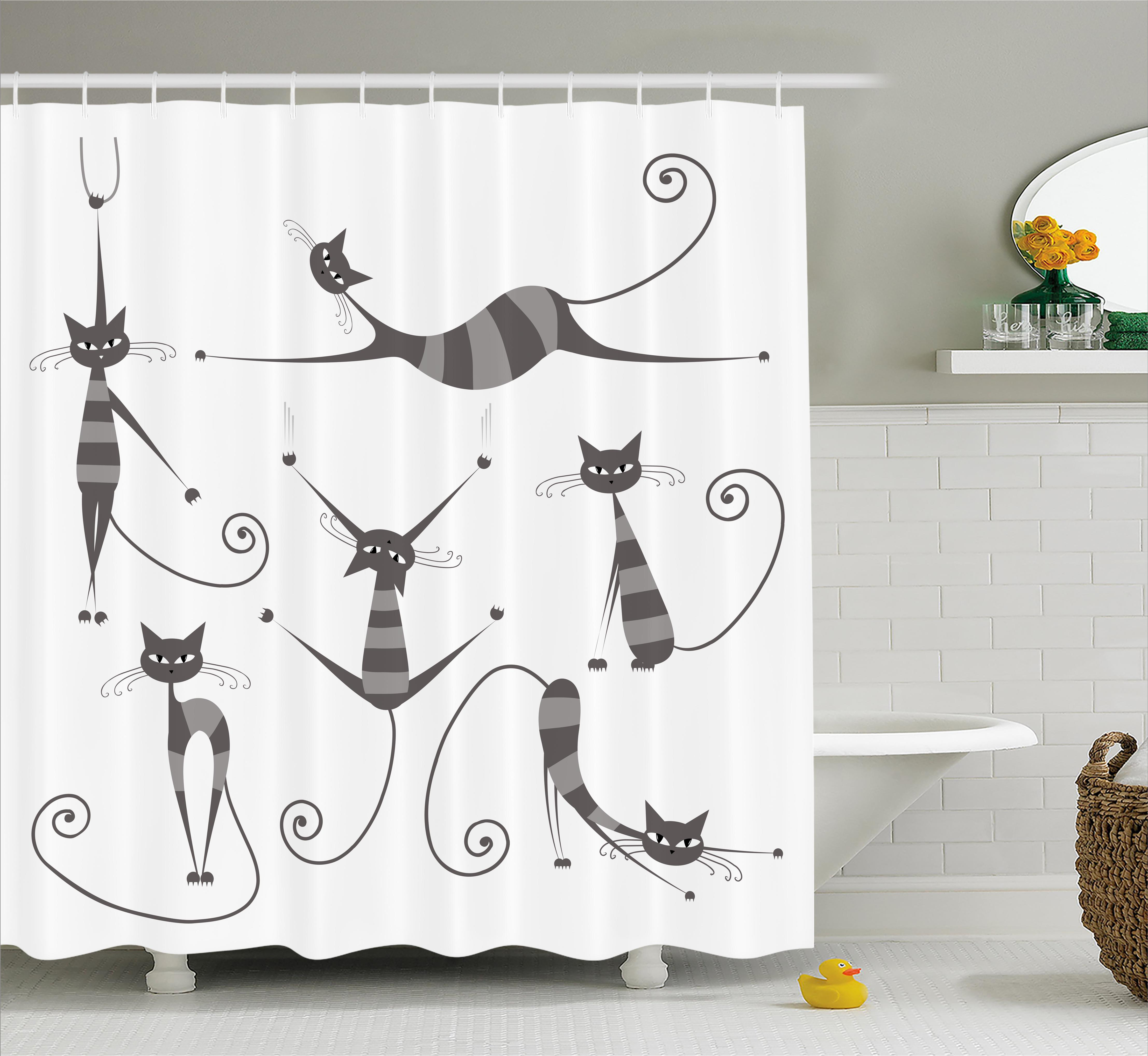 Cat Shower Curtain, Furry Skinny Striped Cats In Several Funny Body  Postures Whiskers Feline Paws