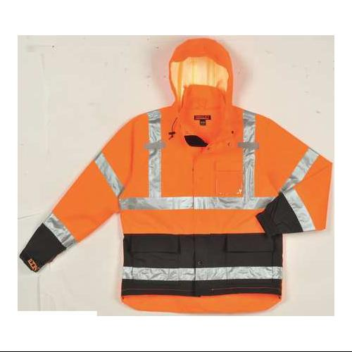 TINGLEY J24129 Hi-Vis Rain Jacket w/Hood,Class 3,OR,4XL