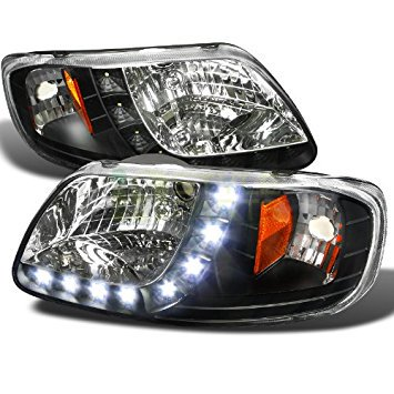 1997 1998 1999 2000 2001 2002 2003 Ford F-150 1 Piece Design LED Headlights Black 2003 Playoff Piece