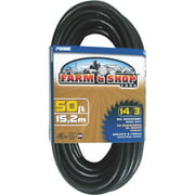Prime Wire 50-Foot 14/3 SJTOW Farm and Shop Extension Cord, Black