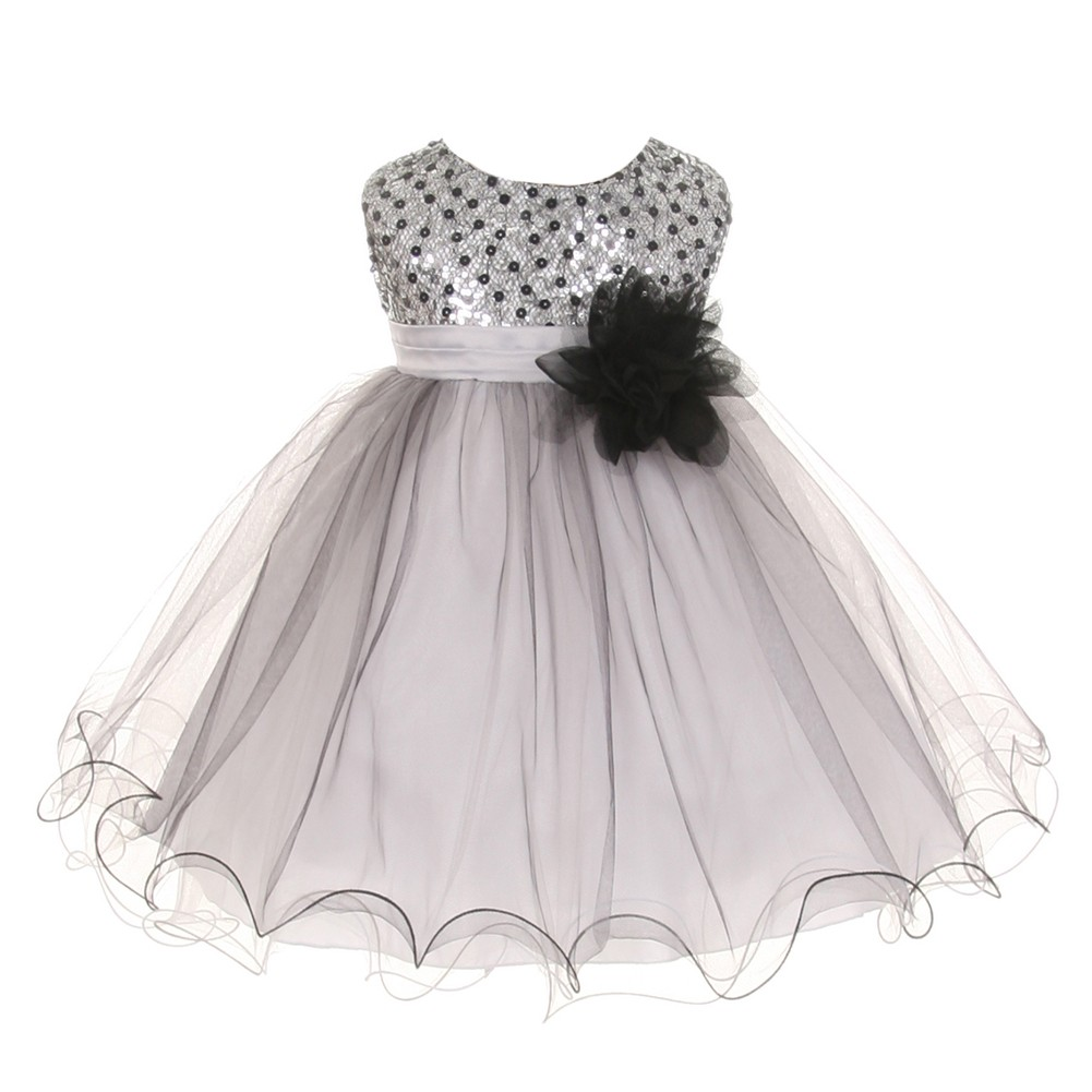 Kids Dream Baby Girls Silver Multi Sequin Tulle Special Occasion Dress  18M