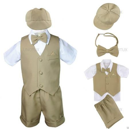 Khaki Baby Infant Boy Toddler Formal Eton Suit Vest Set Shorts S M L XL 2T 3T 4T