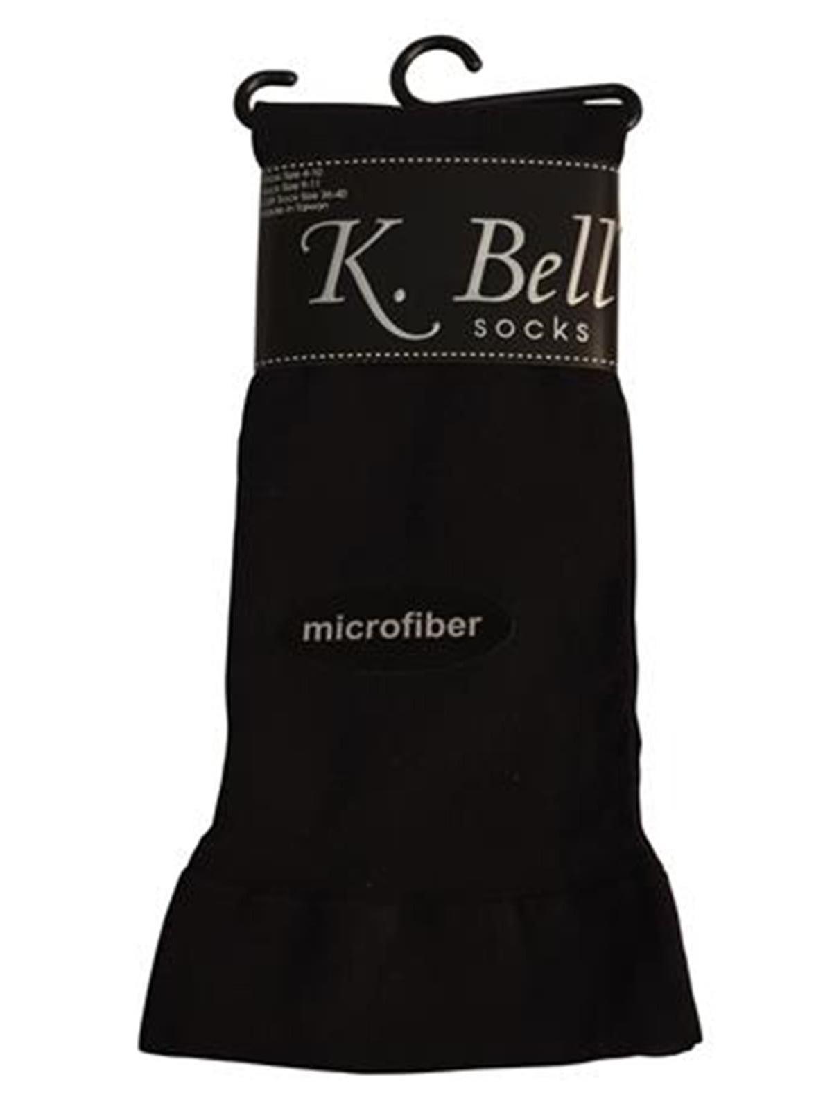 K. Bell Womens Microfiber Trouser Socks, 32026, 9-11, Black