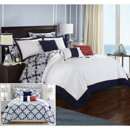 Chic Home 10 Piece Lalita Navy Blue and White REVERSIBLE Med
