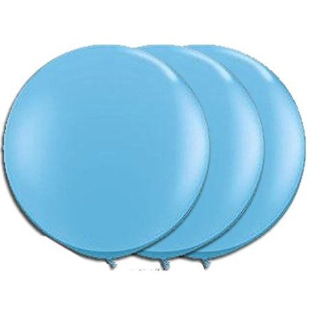 36 Inch Giant Round Light Blue Baby Blue Latex Balloons by TUFTEX Pkg/3 for $<!---->