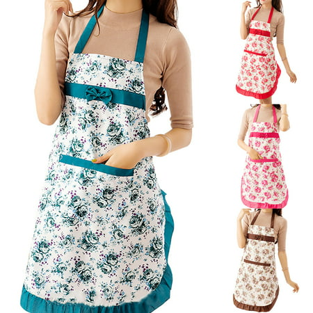 ZeAofaWomen Floral Bowknot Waterproof Kitchen Restaurant Cooking Pocket Dress Apron (50s Aprons For Women)