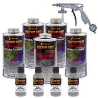 Bed Liner CUSTOM COAT BRIGHT SILVER 0.875 Gallon Urethane Spray-On Truck Kit w/ Spray Gun