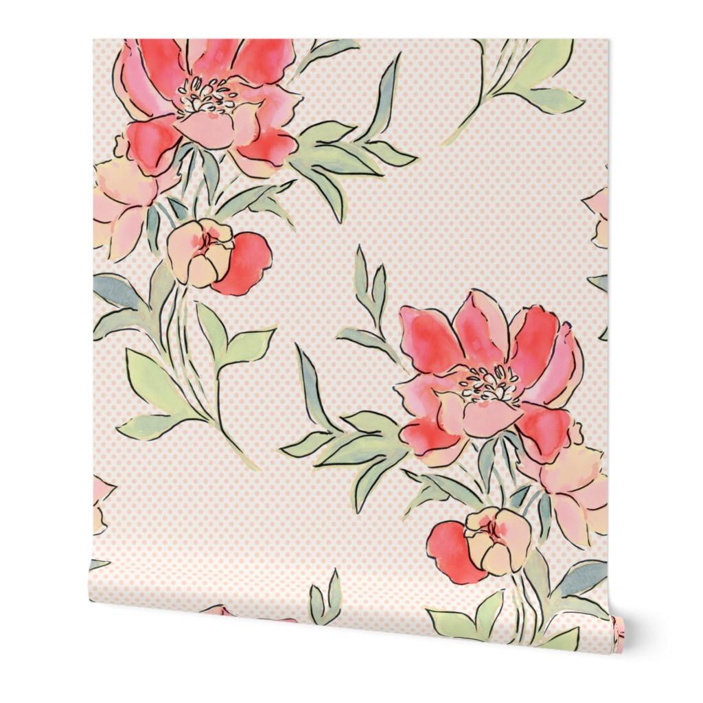 Wallpaper Roll Floral Polka Dot Vintage Floral Retro Floral 24in X