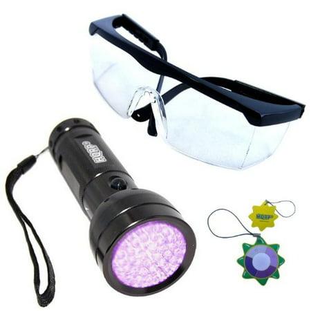 HQRP Professional 390nM 51 UV LED Ultraviolet Rocks / Stones Illumination / Glow / Fluorescence Flashlight and UV Clear Lens Safety Glasses plus HQRP UV Meter