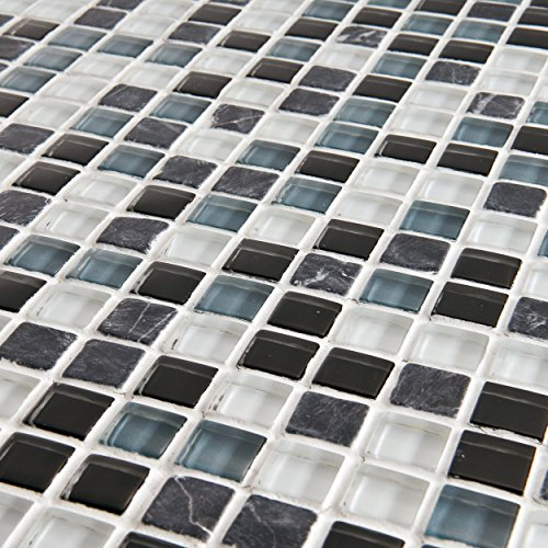 EliteTile Sierra 11-3/4'' x 11-3/4'' Polished Glass and Stone Mini Mosaic in Tuxedo