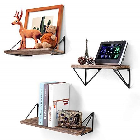 BAYKA Floating Shelves Wall Mounted Set of 3, Rustic Wood Wall Shelves for  Living Room, Bedroom, Bathroom