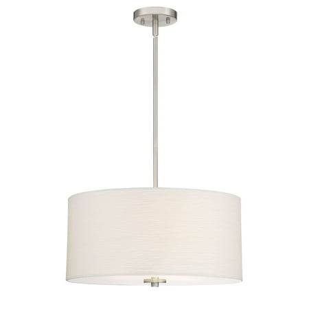 """Revel Pearl 18"""" Contemporary 3-Light Large Drum Chandelier + Glass Diffuser, Brushed Nickel Finish"""