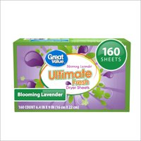 Great Value Ultimate Fresh Blooming Lavender Dryer Sheets, 160 Count