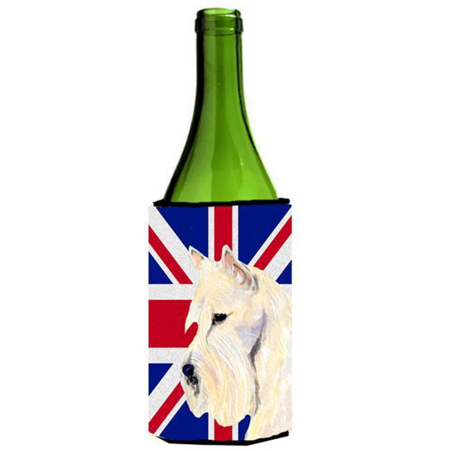 Carolines Treasures SS4972LITERK Scottish Terrier Wheaten With English Union Jack British Flag Wine bottle sleeve Hugger - 24 Oz. - image 1 de 1