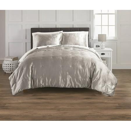 Better Homes and Gardens 3-Piece Full/Queen Silver Velvet Pintuck Comforter Set ()