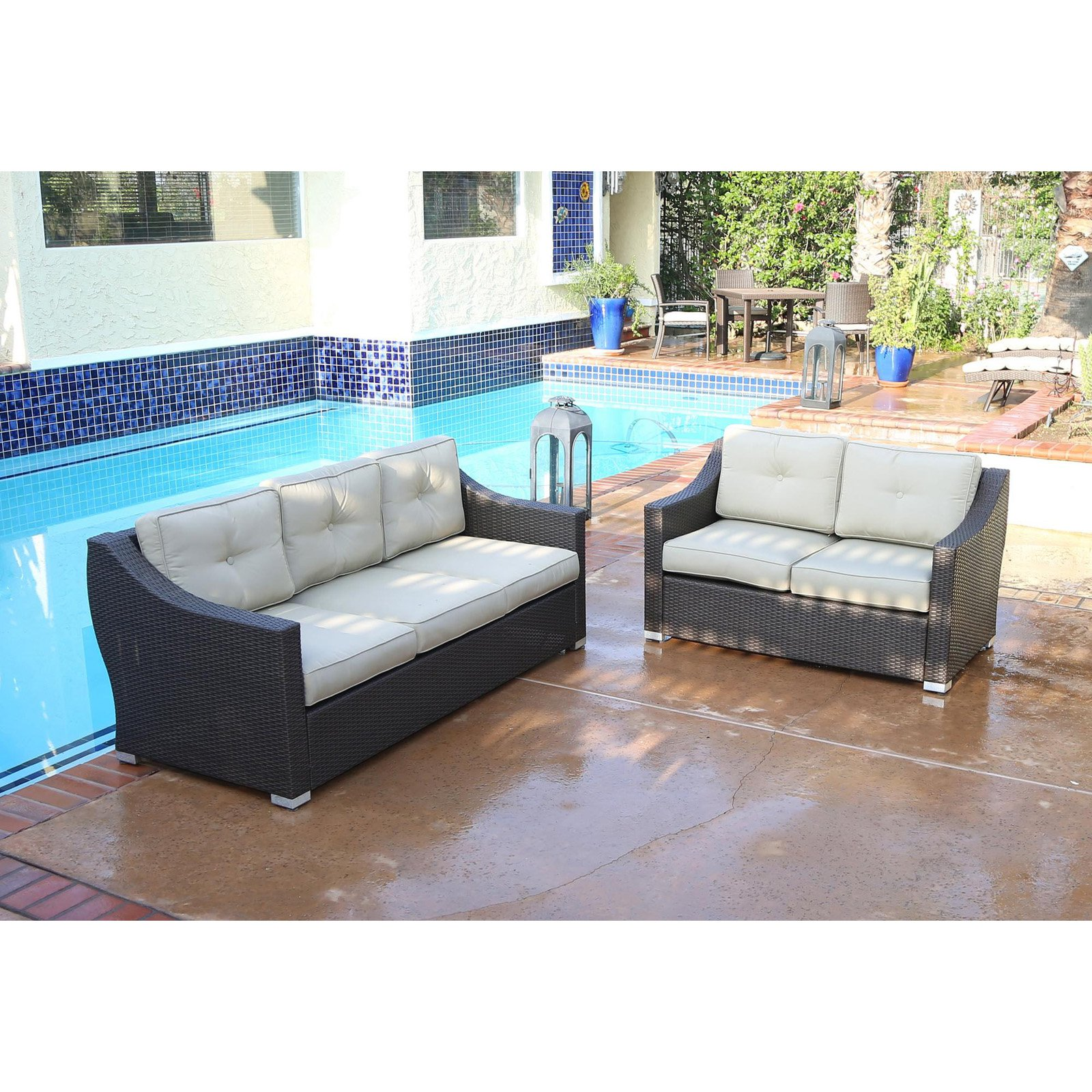 JJ Designs South Beach Wicker 2 Piece Deep Seating Patio Sofa And Loveseat  Conversation Set