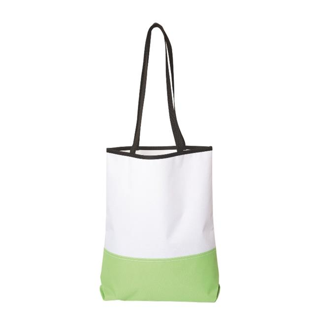 Debco TO7439 Polyester Tote - White / Lime Green  - 12 Pack - image 1 of 1