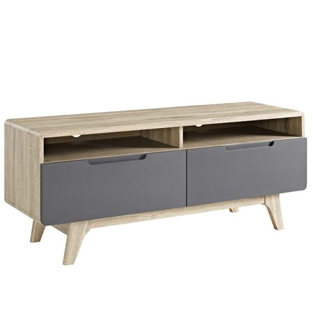 Modern Contemporary Urban Design Living Room Lounge Club Lobby Media TV Stand Console Table, Wood, Grey Gray Natural ()