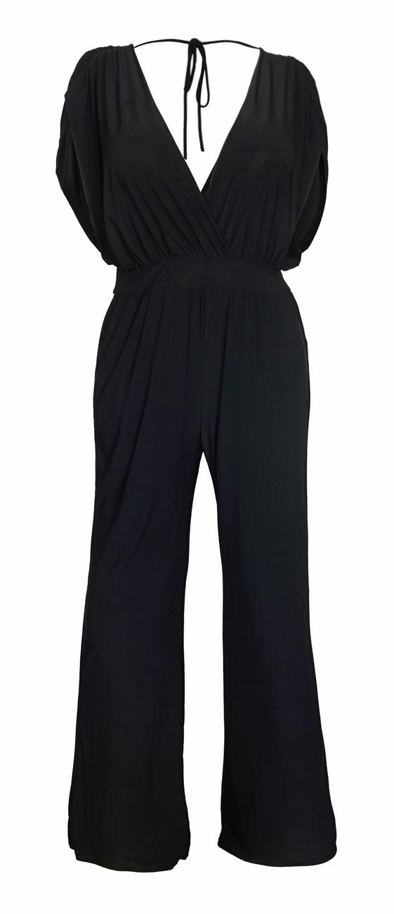 eVogues Plus Size Sleeveless Dressy Jumpsuit Black