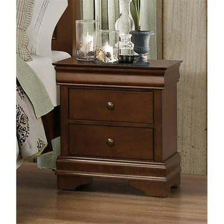 Benzara Wooden Night Stand With Hidden Drawer, Cherry Brown