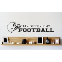 Vinyl Wall Decal Sticker : Football Helmet Mens Boys Kids Sports Image Quote Picture Art Peel & Stick Mural 8x32 Inches