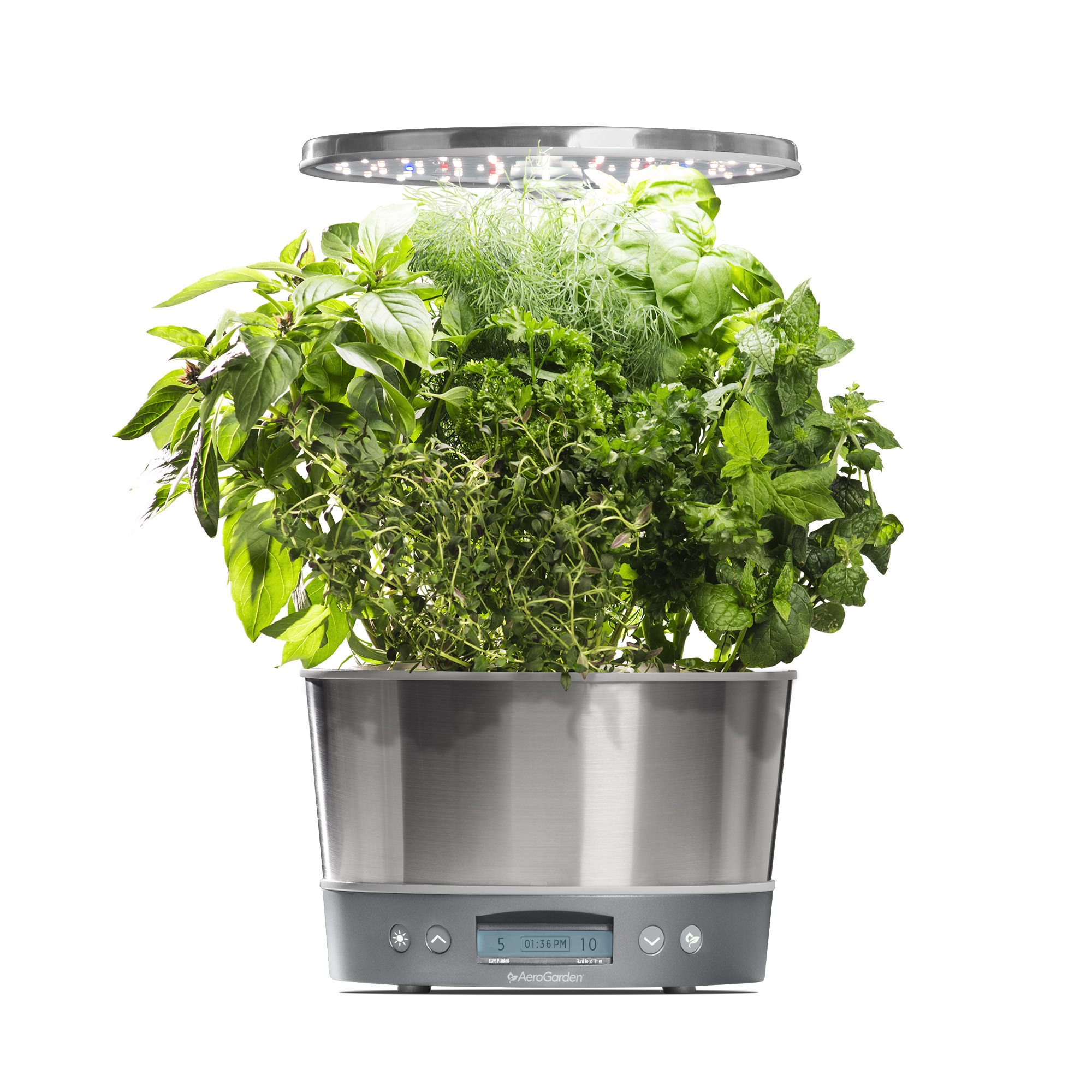 AeroGarden Harvest Elite 360, Stainless with Gourmet Herbs Seed Kit