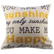 "Wendana Decorative Pillow Cover,""You are my sunshine,my only sunshine,you make me happy.when skies are gray""Throw Pillow Case,Cotton Linen Square Accent Throw Pillow Case For Living Room Sofa"