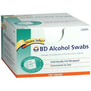 Alcohol Swabs Regular Bd 100, Individually foil wrapped for convenience. By Becton-Dickinson Cons