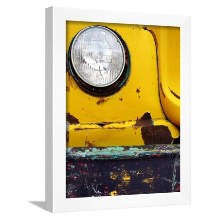 Closeup Detail of Old Bumper and Headlight on Truck Car Scraped Paint Chips Framed Print Wall Art By eric1513
