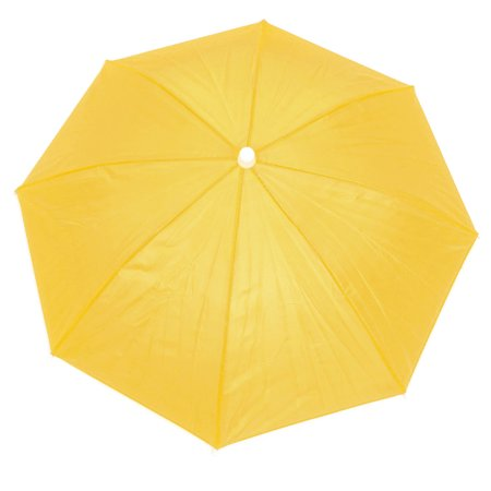Unique Bargains Polyester Headwear Umbrella Hat Yellow for Fishing Angling 55cm Dia Yellow (Umberlla Hat)