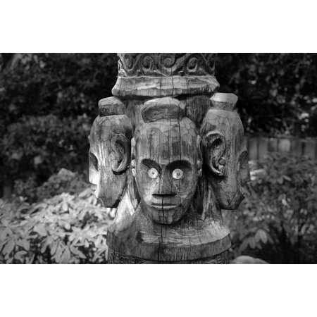 Canvas Print Wood Carving Wood Mask Face Figure Carving Stretched Canvas 32 x 24