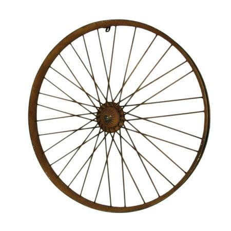 Rusty Metal Vintage Bicycle Wheel Wall Sculpture ()