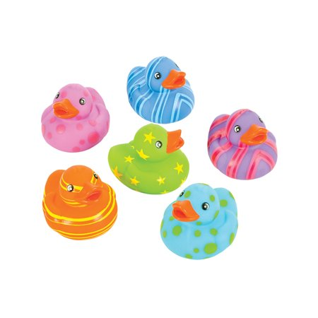 Toy Multi Colored Patterned Rubber Ducks Bath Set Of 12 ()