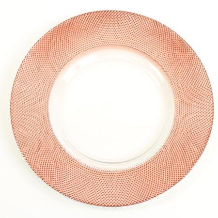 Koyal Wholesale Bulk Diamond Glass Charger Plates, Set of 4, Rose Gold