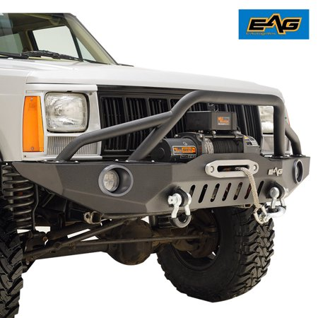 EAG 83-01 Jeep Cherokee XJ Offroad Front Bumper with Pre-Runner Hoop & 2 LED Lights and light frame - Front Bumper Light Bar
