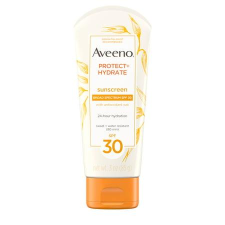 (3 pack) Aveeno Protect + Hydrate Moisturizing Sunscreen Lotion, SPF 30, 3