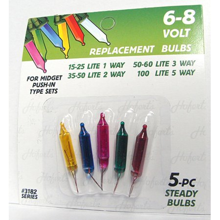 Pack of 5 Multi-Color Mini Push-In Replacement Christmas Light Bulbs 6-8 -